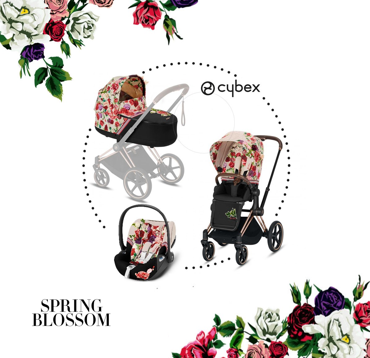 CYBEX Priam SET 3v1 Fashion Spring Blossom Light 2020